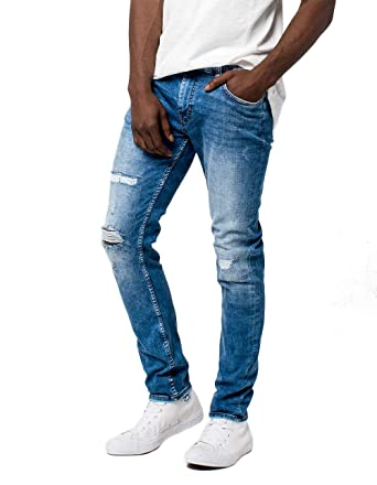 463ccb48704 Rsq Seattle Rip N Repair Light Wash Skinny Tapered Jeans at Amazon Men s  Clothing store