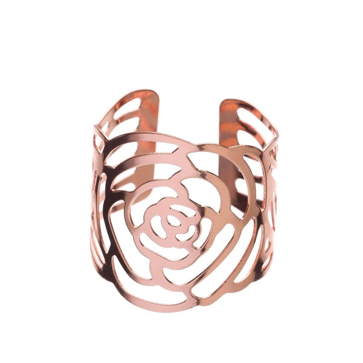Ella Celebration Metal Rose Flower Napkin Ring Holders, Bulk Napkin Rings for Weddings, Rose Gold Set of 12 (Rose Gold)