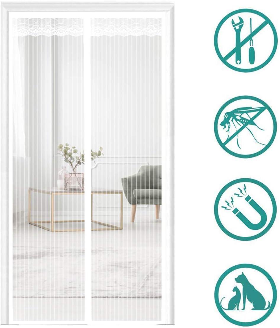 85x195cm Fliegengitter Balkont/ür Insektenschutz Full Frame Klettverschluss f/ür Balkont/ür Terrassent/ür Wohnzimmer THAIKER Magnet Fliegengitter Balkont/ür Wei/ß