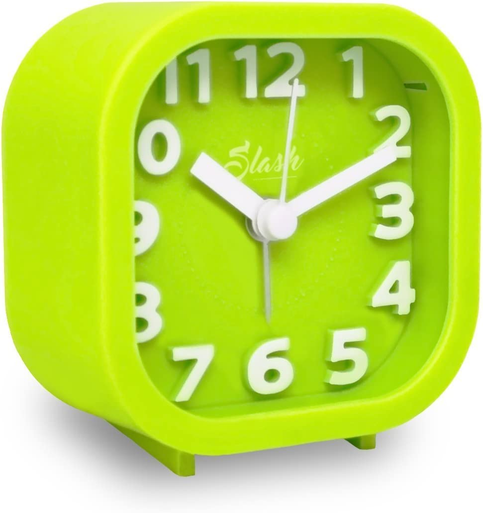Slash 3D Digital Creative Desk Alarm Clock, Simple Candy Color for Sitting Room, Bedroom, Office, Snooze Function, Non Ticking, Nightlight Function (Green)