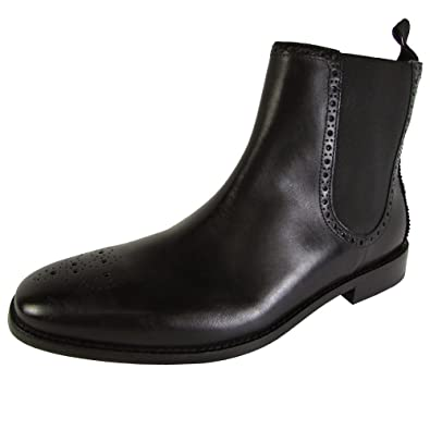 Cole Haan Mens Giraldo Medallion Chelsea II Closed Toe Ankle Leather  Chelsea Boots, Black,