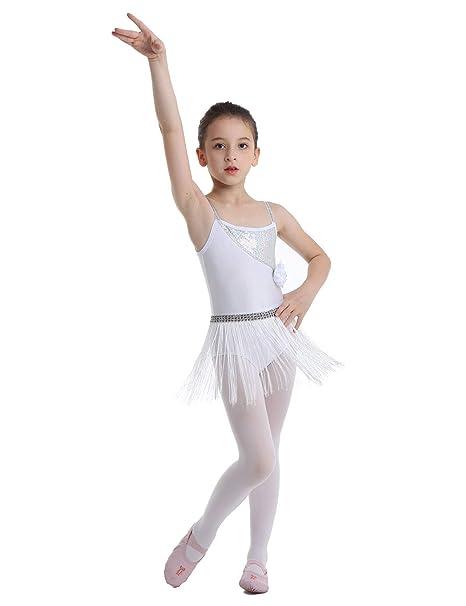 CHICTRY Vestido Latino Niña Maillot Ballet Vestido con Borlas Flecos Chicas Traje de Danza Tango Salsa Deportivo Salón Vestido de Lentejuelas Blanco ...