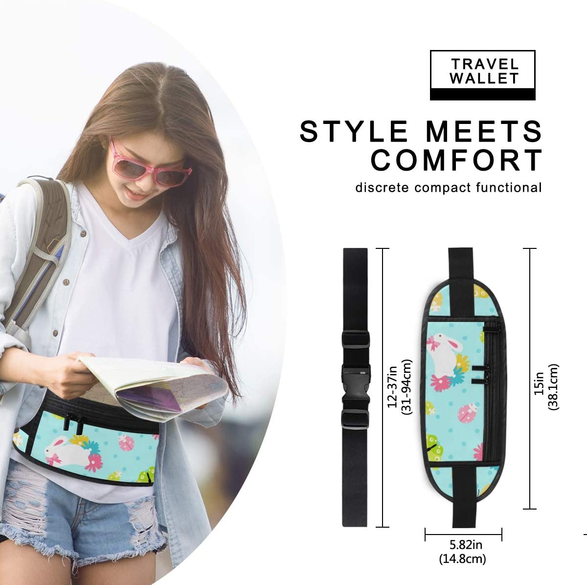 Travel Waist Pack,travel Pocket With Adjustable Belt Easter Spring Bunny Flowers Running Lumbar Pack For Travel Outdoor Sports Walking