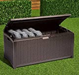 Home Storage Solutions, Resin Wicker Deck Box,Patio Cushion Storage And Garden Tools Organizer, Color Brown