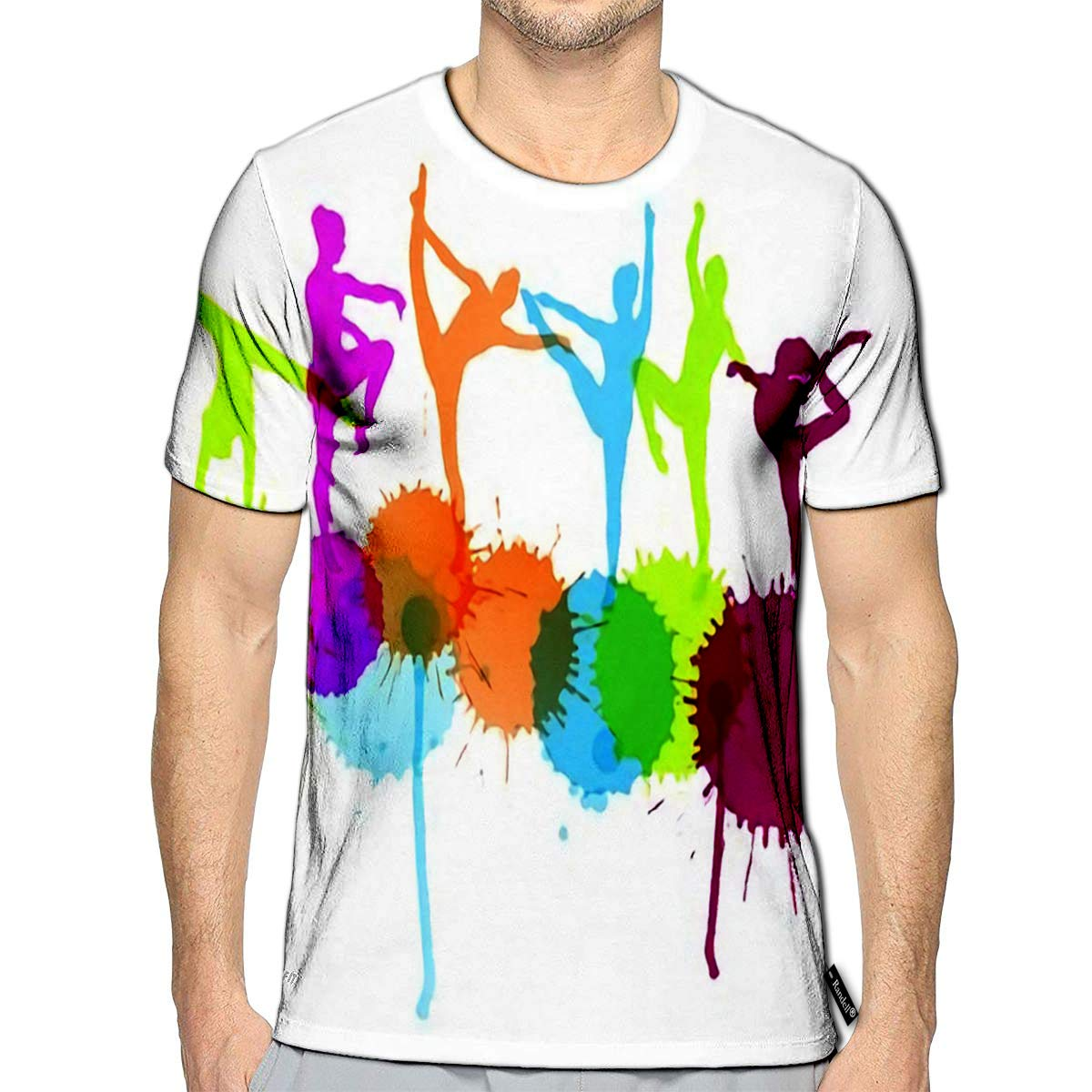 3D Printed T-Shirts Dancers Silhouette Abstract Concept with Ink Splashes Short