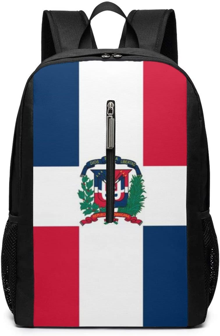 Casual Daypack for Women Men Travel School Backpacks Dominican Republic Flag Laptops Shoulder Bags College Notebook Computer Multipurpose Fitness Daypacks for Outdoor 17 Inch