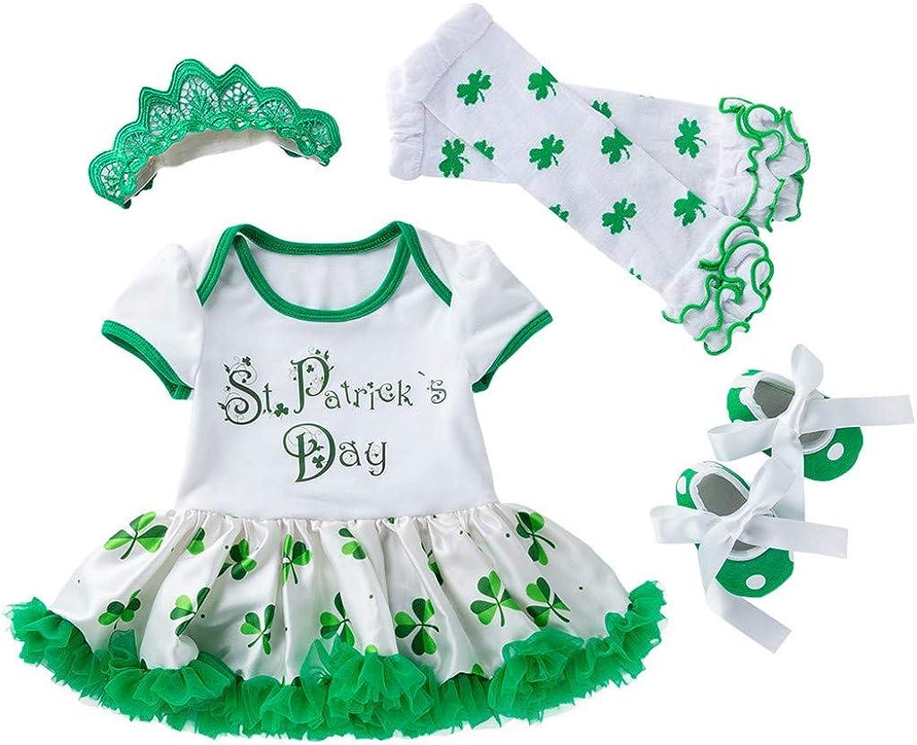Patrick/'s Day Outfit Green Shamrock Bodysuit Romper Dress Tutu Skirt Irish Party Costume Clothes Set TIANRUN Baby Girls St