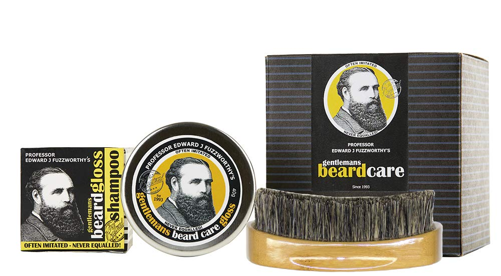 Professor Fuzzworthy BEARD SHAMPOO, Leave in Conditioner Balm & Boar Bristle Brush Grooming Set   Best 100% Natural Beard Care   For Soft Hair & Healthy Beard   Growth Organic Essential & Kunzea Oils by Beauty and the Bees