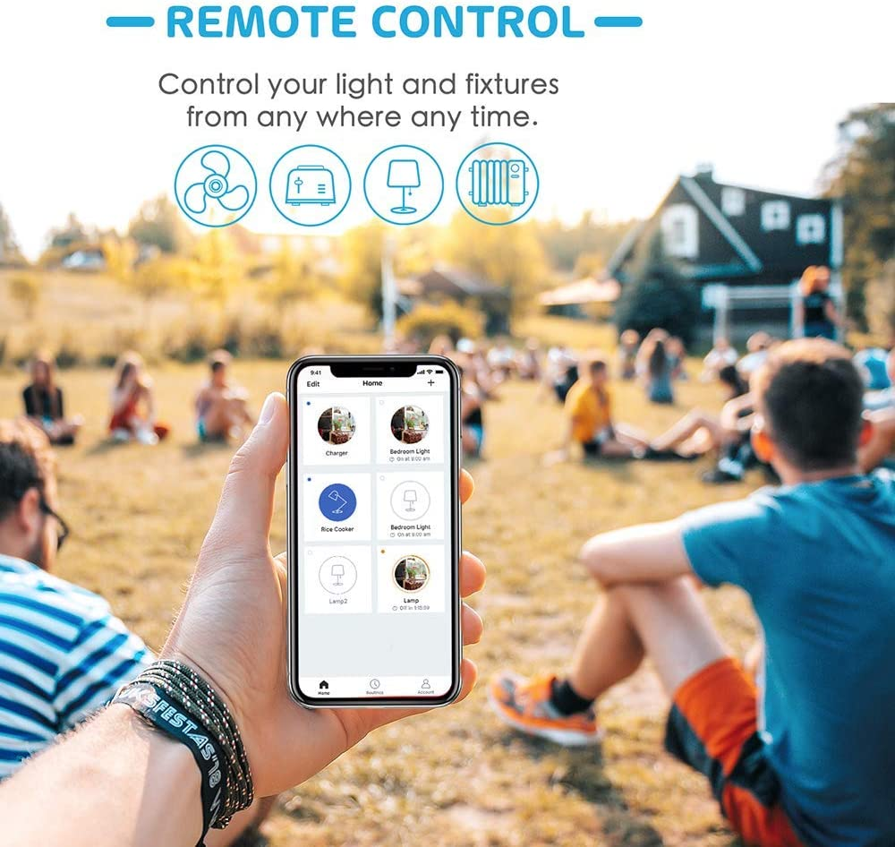 Modelo MSS210HK Alexa Google Assistant y SmartThings con Control Remoto Meross app Wi-Fi Smart Plug Paquete de 1. Compatible con Siri HomeKit Enchufe Inteligente Wi-Fi 16A 3680W