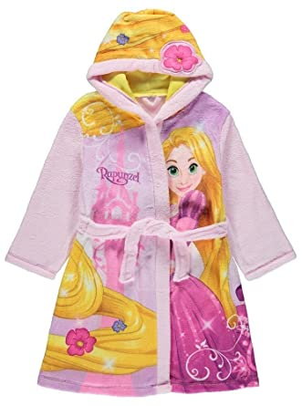Disney Girls Princess Rapunzel Fleece Hooded Dressing Gown Robe ...
