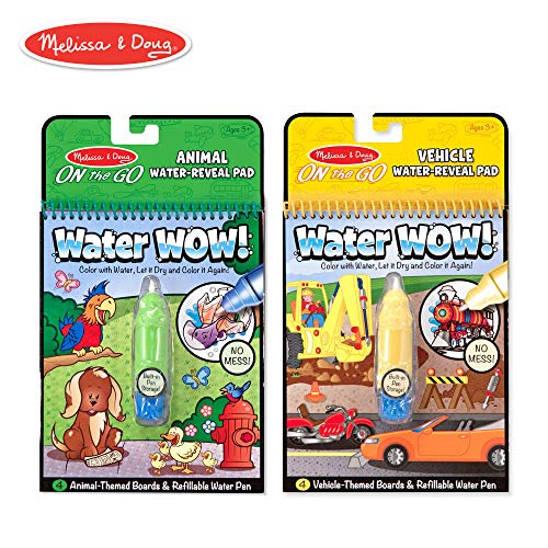 Melissa & Doug On the Go Water Wow! Reusable Water-Reveal Activity Pads, Vehicle & Animal Watercolor Books, Chunky-Size Water Pen, 2-Pack, 10