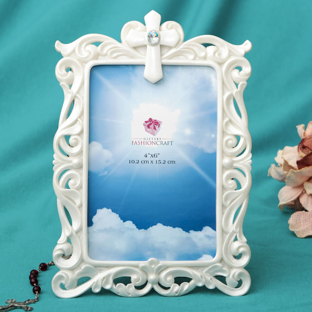 26 Stunning Pearl White Cross Frames - 4 x 6 by Fashioncraft