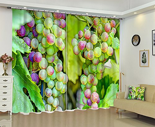 Green Vine Grape Fruit House Decor Window Curtain by LB, Nature Tree Plant Theme Curtain Drapes, Thermal Insulated Window Treatment , 80x84 Inches (2 Panels Size) by LB