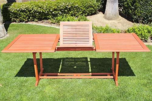 VIFAH V232 Outdoor Wood Rectangular Extention Table with Foldable Butterfly by Vifah