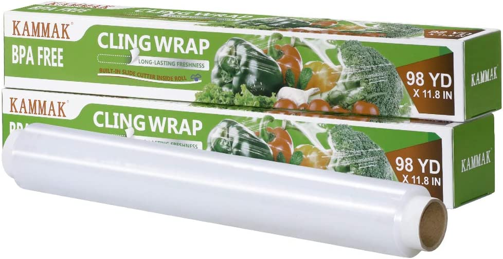 Plastic Wrap Dispenser with Cutter KAMMAK Cling Wrap for Food BPA-Free Microwave-Safe Kitchens Quick Cut 12