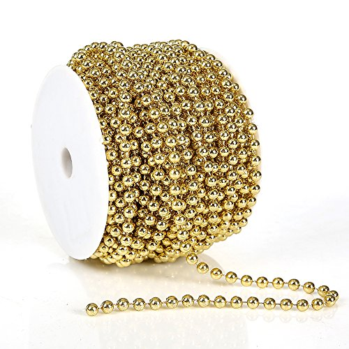 FQTANJU 6 mm X 25 Meters Large Pearls Faux Crystal Beads by The Roll - Flowers Wedding Party Decoration (Gold)