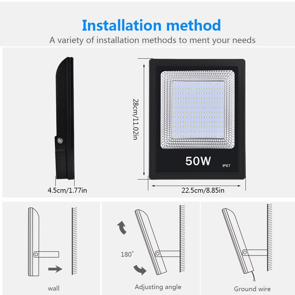 Foco LED IP67 Foco Exteriores//Interiores Foco proyector LED 20W 50W 100W Hal/ógeno Blanco fr/ío//Blanco c/álido Floodlight Led 100W, Blanco c/álido