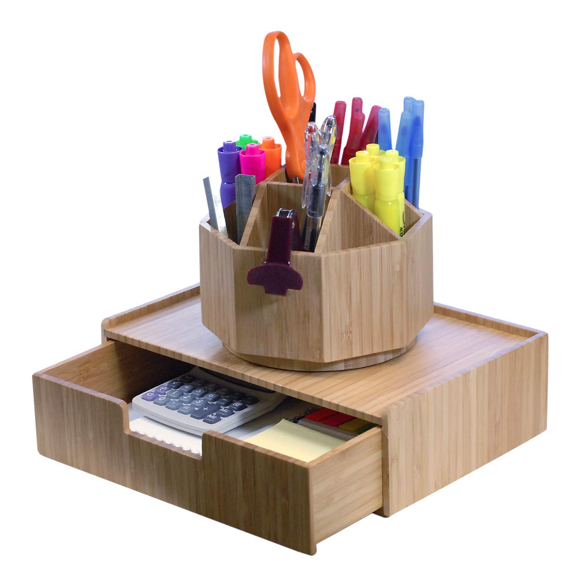 Bamboo Rotating Office & Art Supply Organizer, 9 Sections, Plus Drawer Combo for Pens, Pencils, Highlighters, Markers, Scissors, Accessories & More