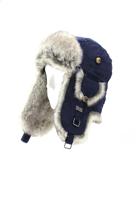 Fell Winter Baumwolle Cord Kunstfell Aviator Bomber Trapper Trooper Pilot Ski Hat