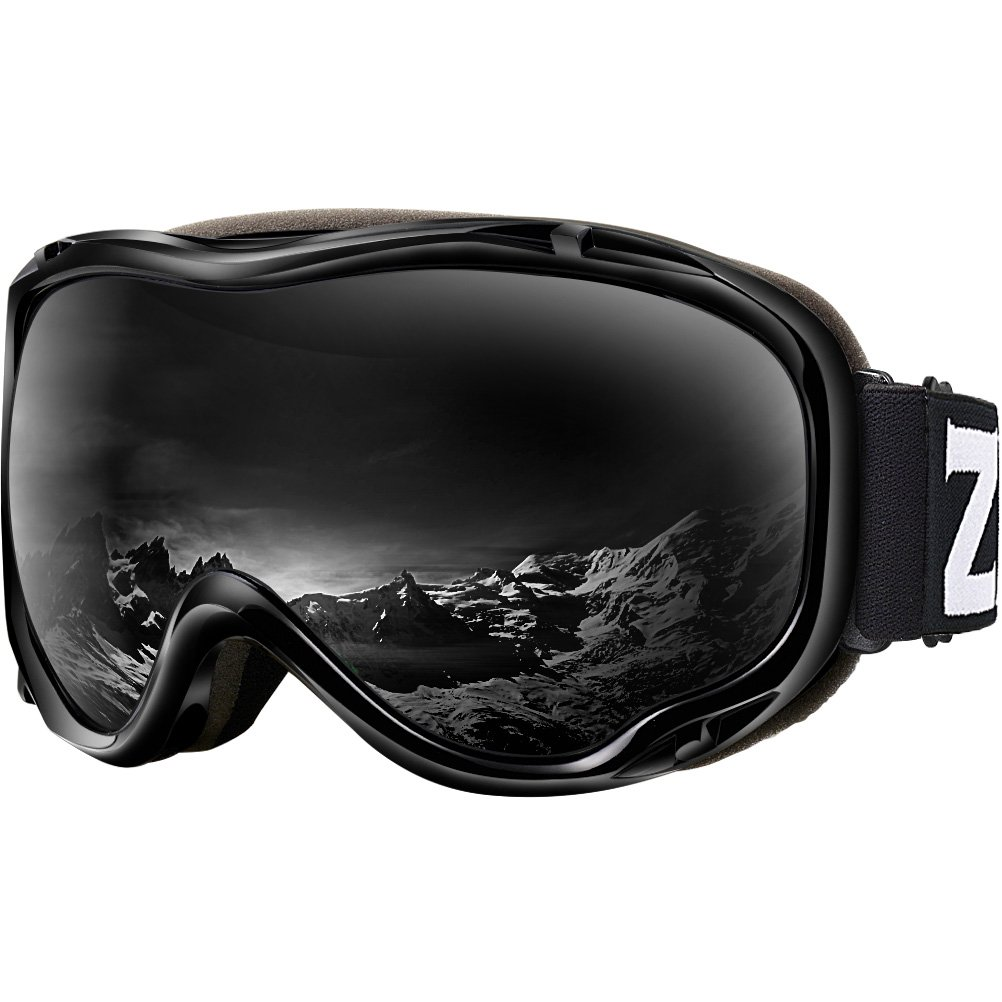 Zionor Lagopus Ski Snowboard Goggles UV Protection Anti Fog Snow Goggles for Men Women Youth VLT 8% Black Frame Black Lens by Zionor