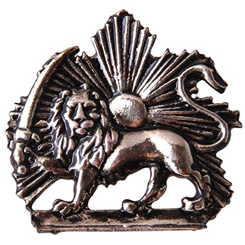 Iranian Persian Pahlavi Kingdom Shir Khorshid Lion Sun Sword Tie Suit Pin Iran Brooch (Antique Gold)