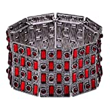 D EXCEED Jewelry Statement Vintage Paved Crystal Wide Stretch Cuff Bangle Bracelet for Women 7""