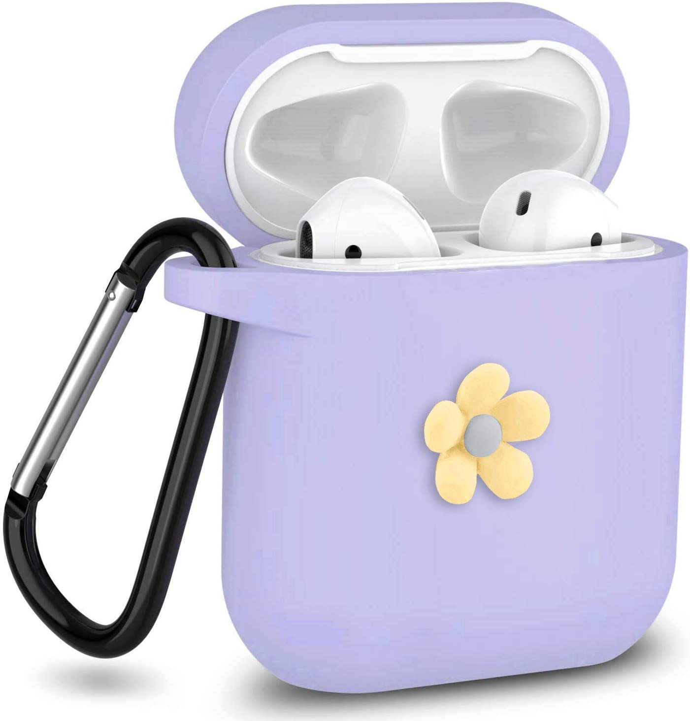 J.west AirPods Case with Chrome Keychain Soft Silicone Protective Case Flower Cover Compatible with Apple Airpods 1 & AirPods 2 [Front LED Not Visible] Charging Case (Purple)