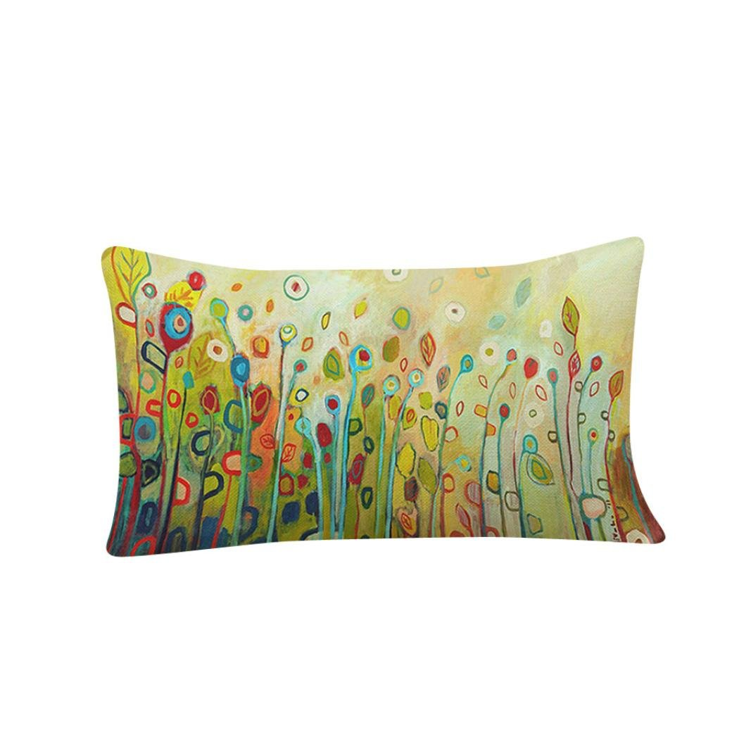 Ankola 12''x20'' Flowers Birds Print Pattern Cotton Linen Square Throw Pillow Case Decorative Cushion Cover Pillowcase for Sofa,Bed,Chair,Bedding (A)