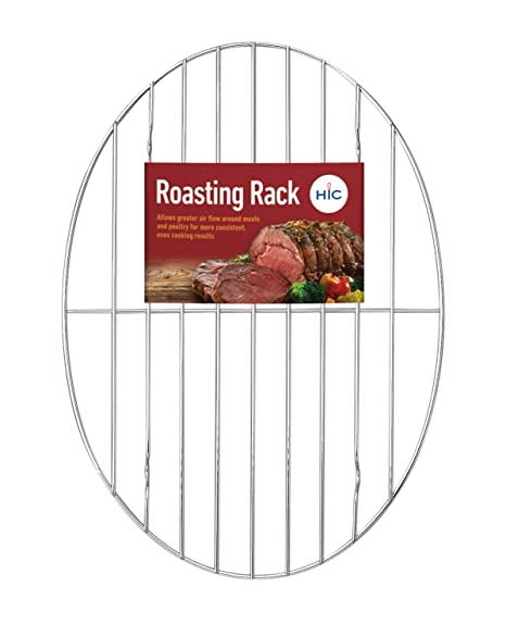 T/&B 9.8x6.7 Inch Oval Roasting Cooling Rack 304 Stainless Steel Baking Broiling Rack Cookware 0.8 Inch heigh thick version 1