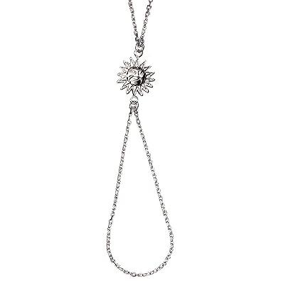 eb85fe89508 Bracelet Bague en Argent 925 000 Pendentif Soleil - Bijoux de Main Femme