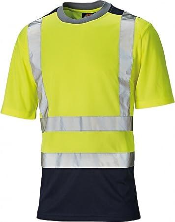 Dickies Mens Alta Visibilidad Viz Dos Tonos poliéster Camiseta Amarilla Amarillo/Azul Marino Talla:4XL - Chest 60-62