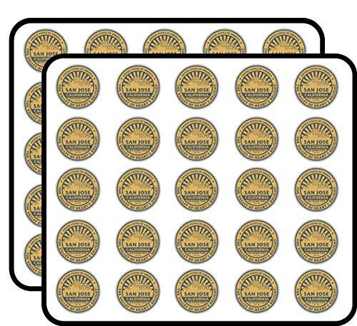 San Jose California USA Grunge Rubber Travel Stamp Art Decor Sticker for Scrapbooking, Calendars, Arts, Kids DIY Crafts, Album, Bullet Journals 50 Pack]()