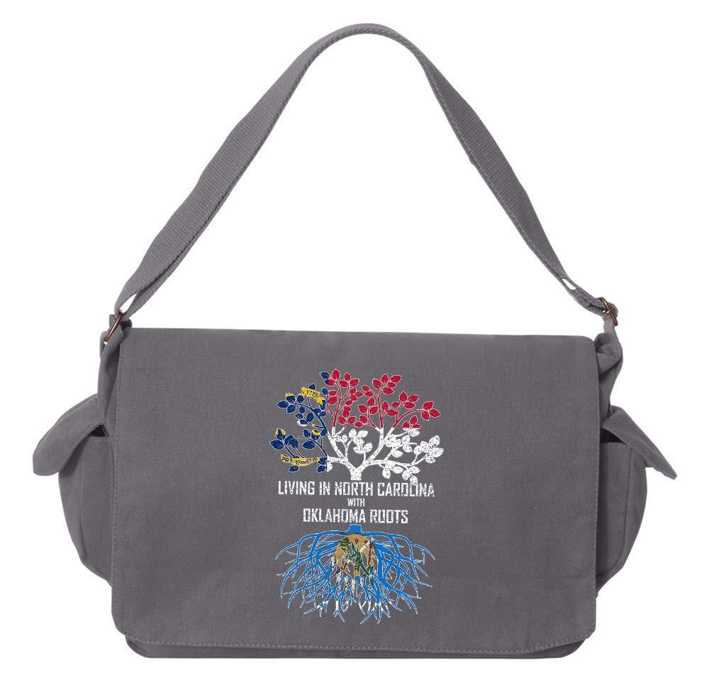 Tenacitee Living In North Carolina with Oklahoma Roots Grey Brushed Canvas Messenger Bag