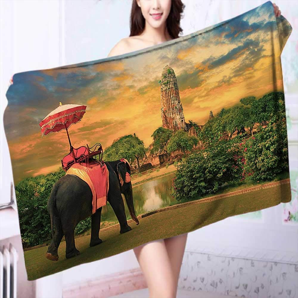 100% Cotton Bathroom Towels Elephant Dressing with Thai Kingdom Tradition Accessories Pagoda in Ayuthaya Fluffy, and Absorbent, Premium Quality