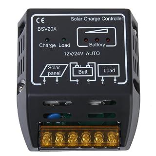 TOOGOO (R) 12V / 24V 20A el panel de solar cargador Controlador Regulador
