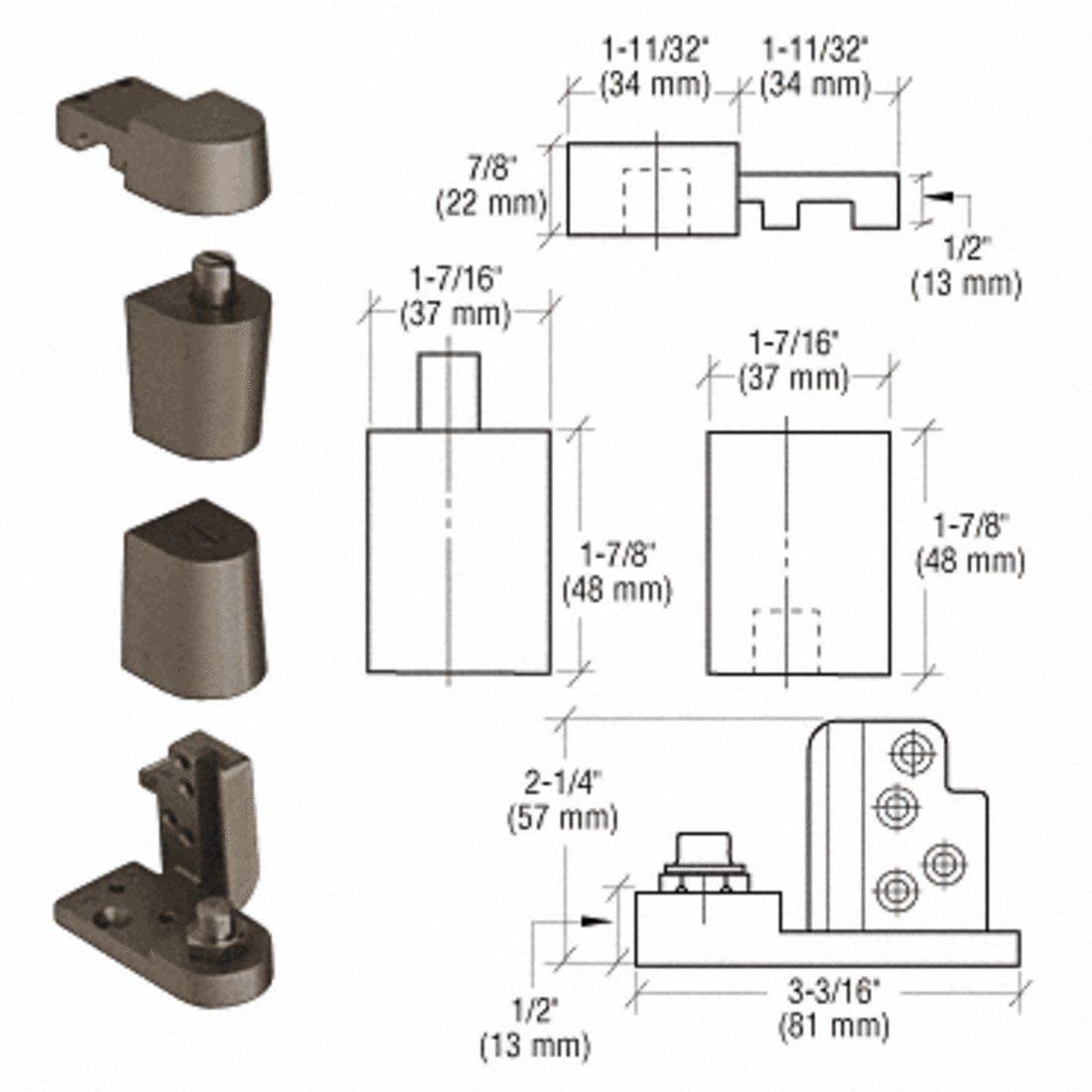 CRL Dark Bronze Offset Left Hand 0P70 Series Kawneer Type Pivot Set by CR Laurence
