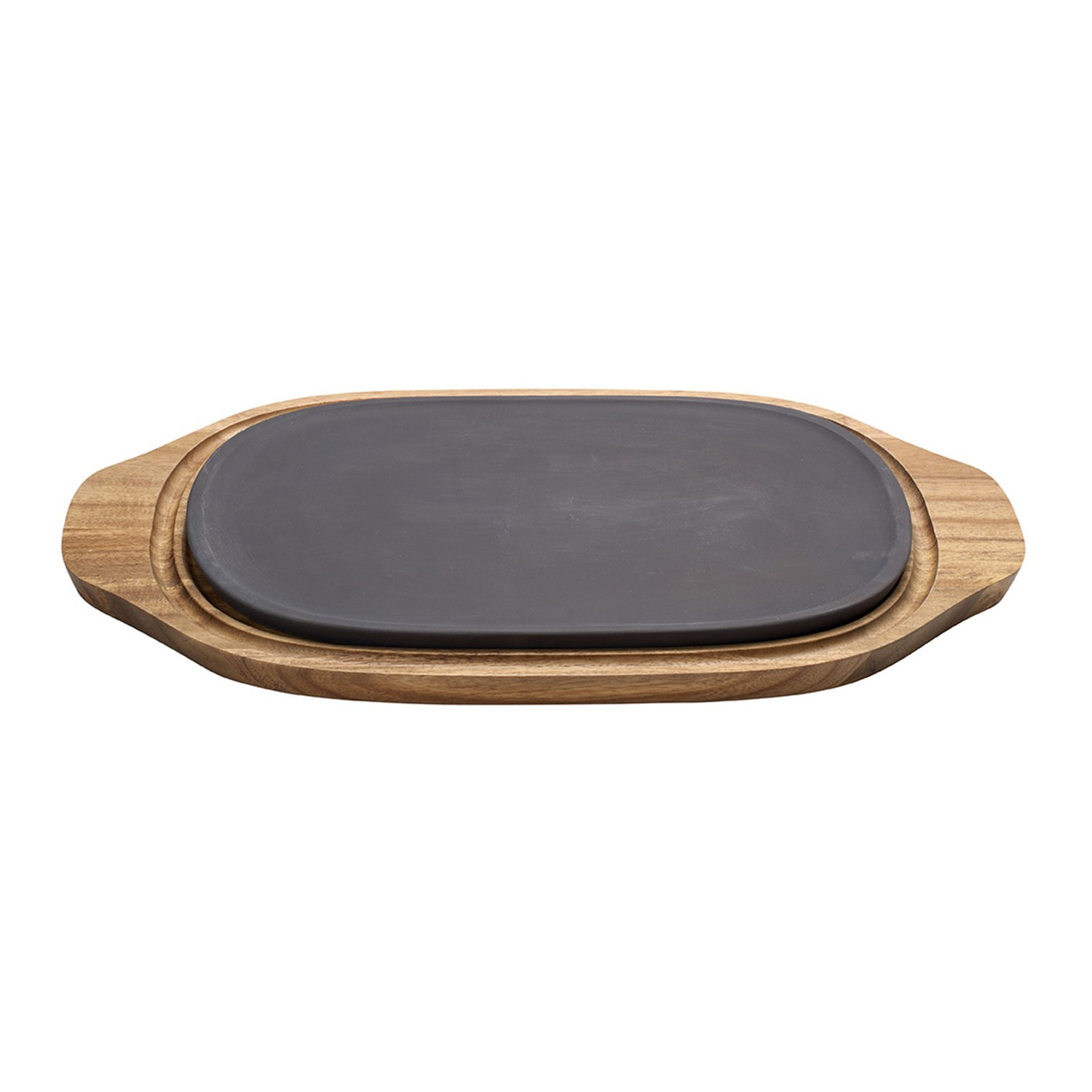 BBQ Passion  Hot/ Cool Plate 2 Piece Set by Villeroy & Boch - Premium Porcelain Plate and Acacia Wood Tray - Dishwasher and Microwave Safe Plate - 12.5 x 8.25 Inches
