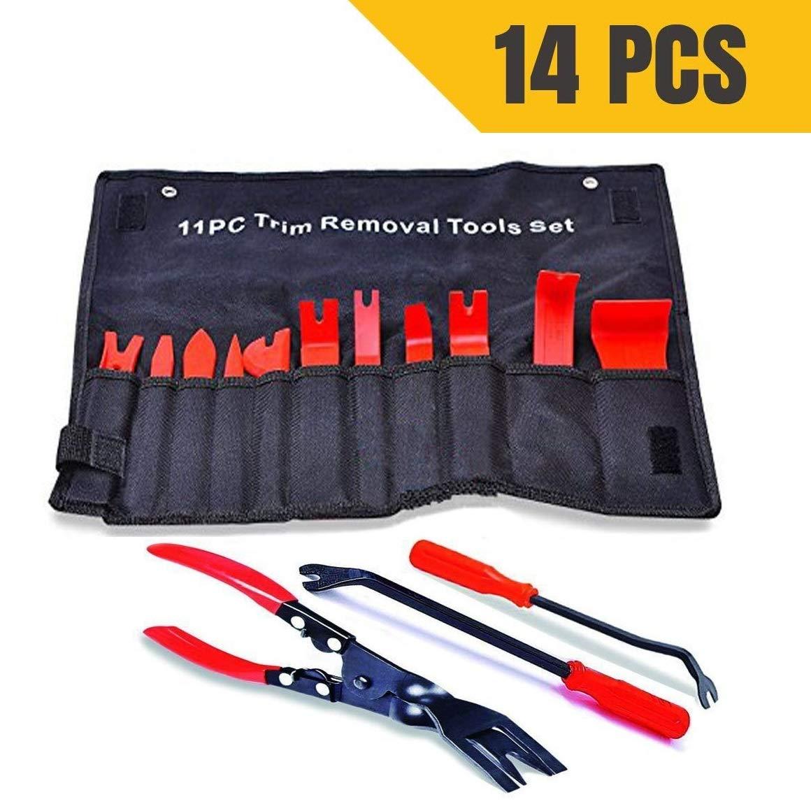 attrezzi auto con custodia, kit di attrezzi per rimozione tappezzeria, pannelli portiera, cruscotto, in nylon resistente + pinze clip + 2 pezzi rimozione (totale 14 pezzi) AYAOQIANG 14 Pcs Tools