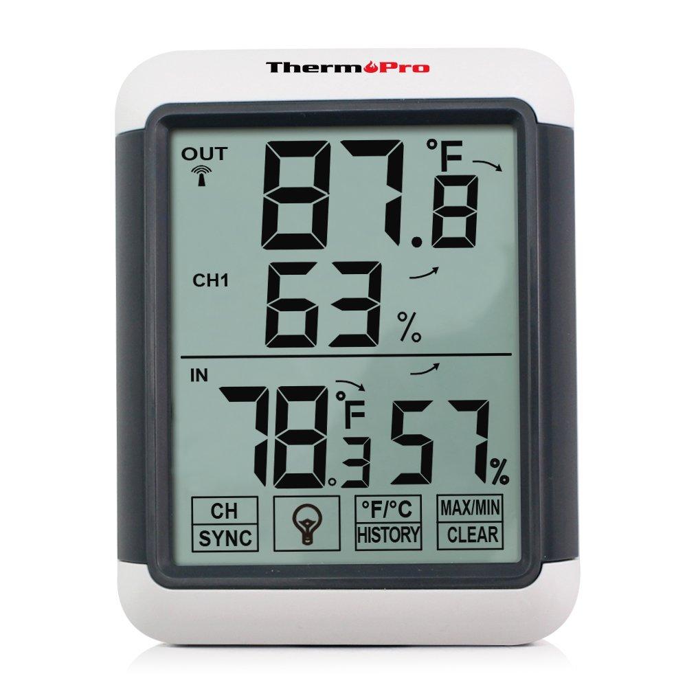 dbbd8bb94 ThermoPro TP65 Inalámbrico Termómetro Higrómetro Digital exterior y interior  con gran Pantalla táctil y Retroiluminación azúl Función de memoria Medidor  ...
