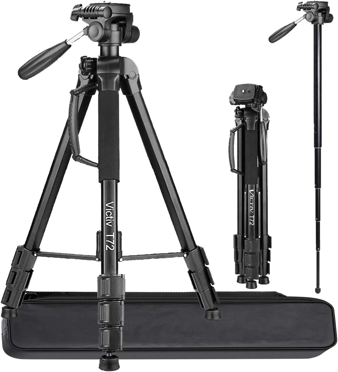 Victiv Aluminum 72 inches Camera Tripod, 2-in-1 Tripod Monopod for DSLR and Smartphone with 3-Way Swivel Pan Head and 9lbs Load for Travel and Work - Black