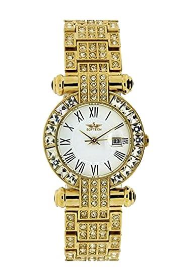 Moda de marca para mujer Diamante pulsera reloj de cuarzo analógico oro
