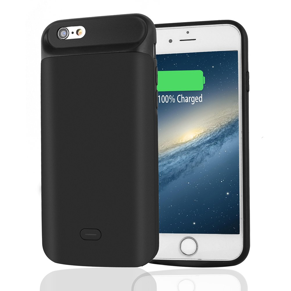 LULUTEK iPhone 6 / 6S Battery Case, Extra High Capacity 5000mAh Extended Rechargeable Battery Pack for iPhone 6 and 6S – 2 Years Warranty (Black)