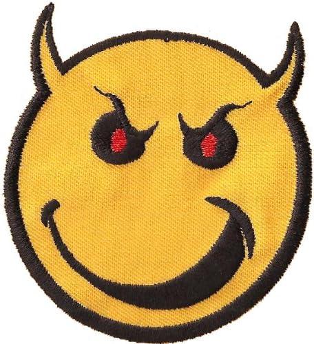 Smiley Badass Teufelchen Devil Emoticon Smile Aufn/äher Patch Aufb/ügler