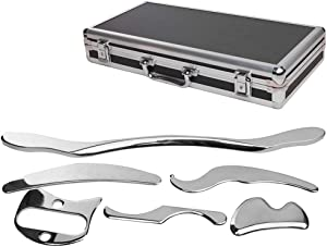 Stainless Steel Gua Sha Scraping Massage Tool Set of 6 Pieces for Soft Tissue Mobilization Physical Therapy
