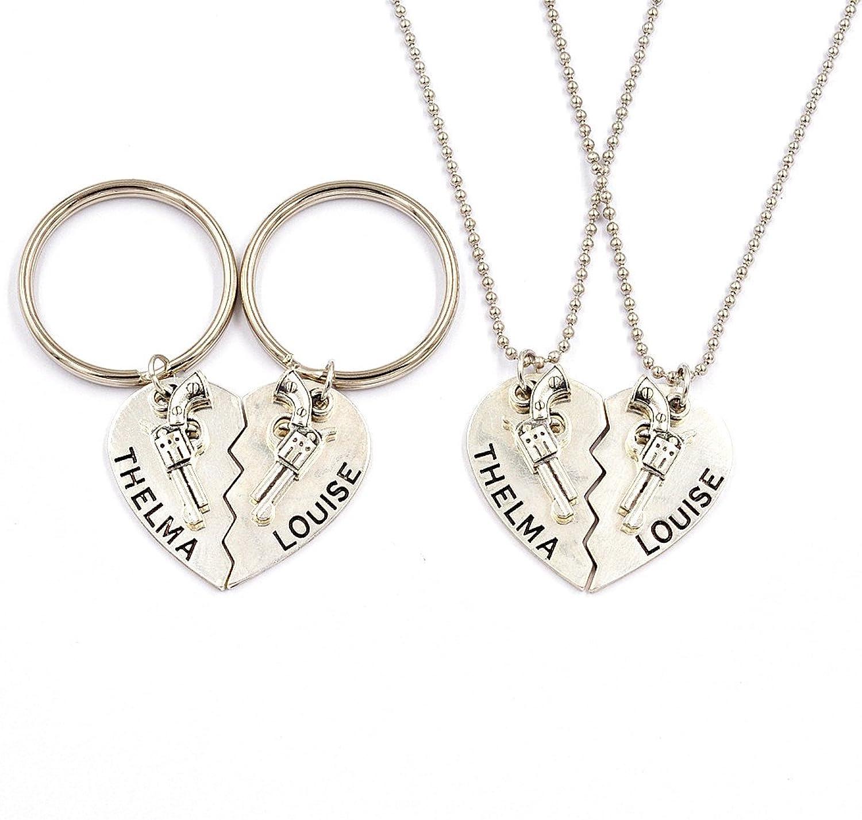 1 set Thelma and Louise Pistol Gun Charm Keychain Broken Heart Best Friends Matching Necklace