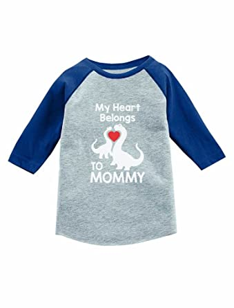 9eb9504b Amazon.com: Dino Love - My Heart Belongs to Mommy 3/4 Sleeve Baseball  Jersey Toddler Shirt: Clothing