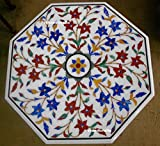 24'' Octagon White Marble Meeting Table Top Floral Design Inlay Multi Color Stones