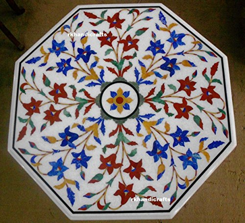 24'' Octagon White Marble Meeting Table Top Floral Design Inlay Multi Color Stones by rkhandicrafts