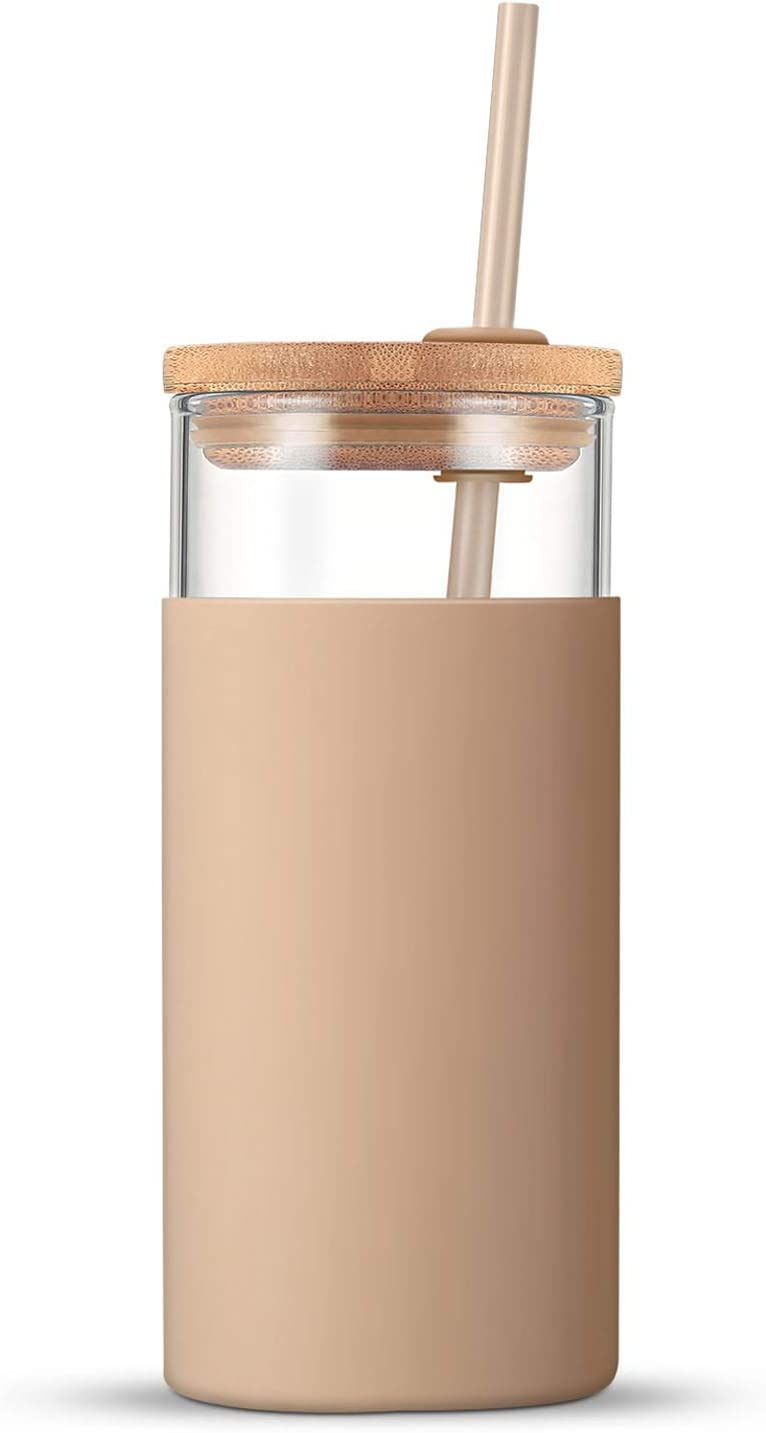 Tronco 20oz Glass Tumbler Glass Water Bottle Straw Silicone Protective Sleeve Bamboo Lid - BPA Free (Amber)