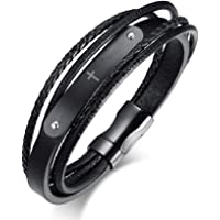 MPRAINBOW MP Men's Stainless Steel Black Genuine Leather Cuff Bracelet Magnetic Clasp